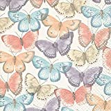 Home Collection Casa Cocina Textiles Set 60 Servilletas Papel Desechable 3 Capas Motivo Mariposas Coloradas