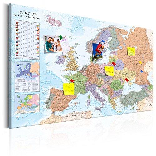 murando - Mapamundi con Tablero para Clavar chinchetas 90x60 cm - Cuadro en Lienzo sintético - 1 Parte - Panel de Fibra - Mapa del Mundo Continente - Europa k-A-0136-v-a