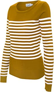 CIELO Women's Soft Stretch Striped Pullover Knit Sweater