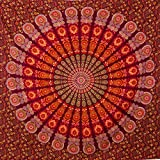 MOMOMUS Mandala Wandteppich - Großes Mandala Strandtuch - Pareo Tuch groß - 100% Baumwolle, Indian, Hippie, Boho, Bohemian (Rot A, 210x230 cm)