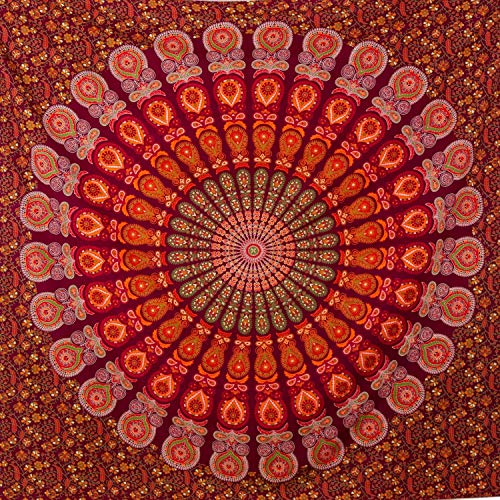 momomus Mandala Wandteppich - Großes Mandala Strandtuch - Pareo Tuch groß - 100prozent Baumwolle, Indian, Hippie, Boho, Bohemian (Rot A, 210x230 cm)