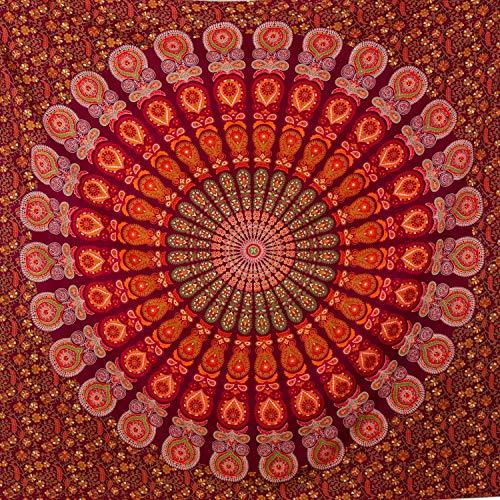Momomus Mandala Wandteppich - 100% Baumwolle - Als Strandtuch XXL, Pareo Tuch Groß, Wandtuch - Strandhandtuch/Stranddecke Sandfrei 210x230 cm, Rot
