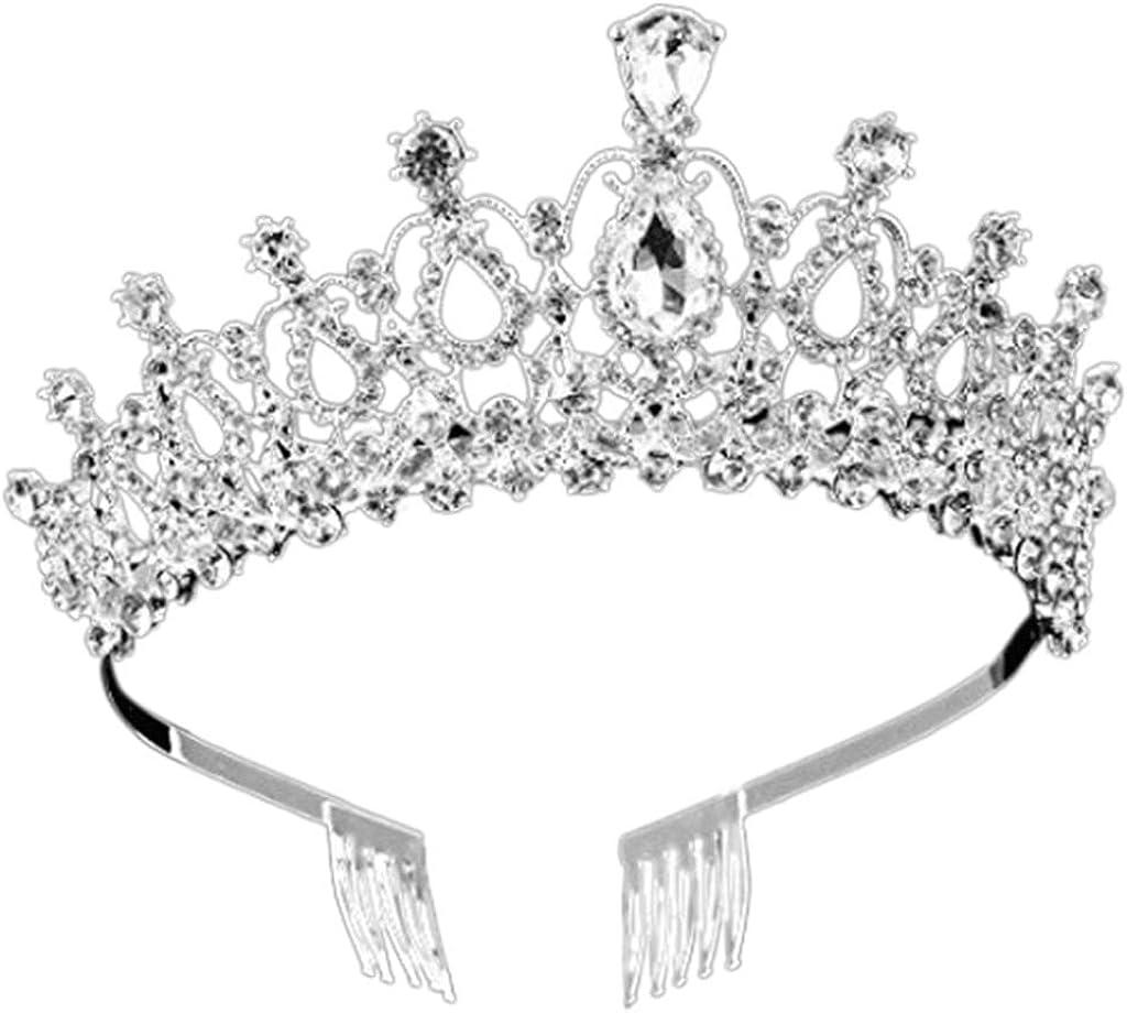 Beerty Women Kids Imitation Crystal Glitter Rhinestone Wide Headband with Comb Ladies Wedding Bridal Party Jewelry Crowns Hairband