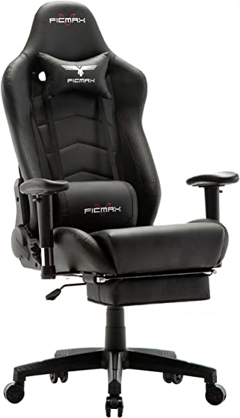 Ficmax Ergonomic Gaming Chair Massage Computer Gaming Chair Reclining Racing Office Chair With Footrest High Back PU Leather Gaming Desk Chair Large Size E Sport Chair With Headrest And Lumbar Support