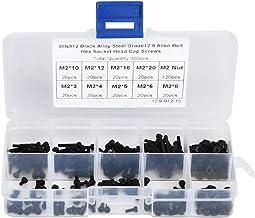 300 stks M2 x 3-20 mm 12,9 Grade zwart gelegeerd staal zeskantschroef Inserts Bout en moer Kit