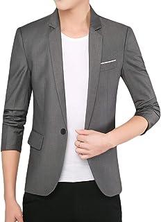FSSE Mens Regular Fit 3/4 Sleeve Casual Solid Business Dress Blazer Jacket Suit Coat