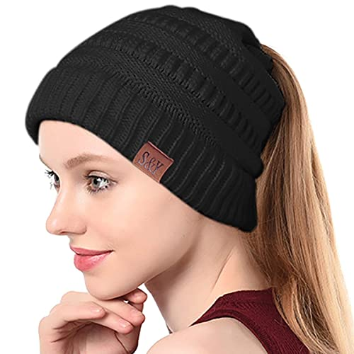 3ddae60cd57 SIHOHAN Beanie Hat Trendy Knit Hats Soft Strech Cable Bun Ponytail Winter  Hat
