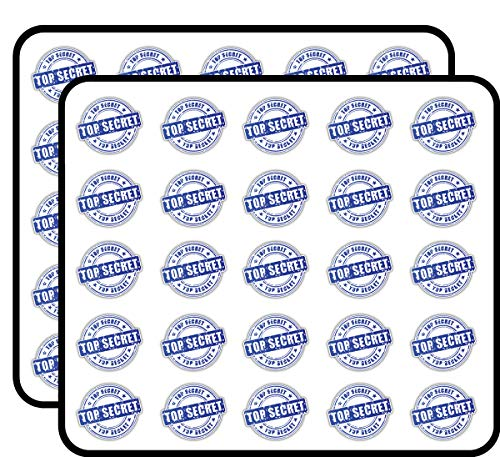 Top Secret Grunge Stamp Art Decor Sticker for Scrapbooking, Calendars, Arts, Kids DIY Crafts, Album, Bullet Journals 50 Pack