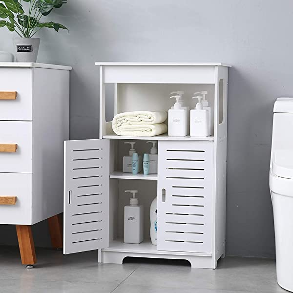 BHFurniture Double Door Bathroom Storage Cabinet Floor Cabinet Modern Multifunctional Bathroom Storage Organizer Free Standing Storage With Doouble Compartment And Shelves