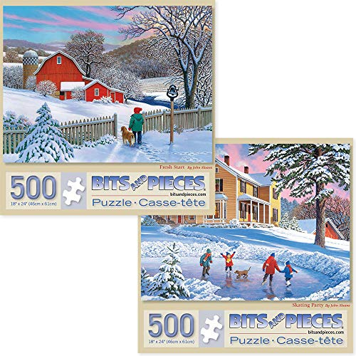 Bits and Pieces - Value Set of Two (2) 500 Piece Jigsaw Puzzles for Adults - Each Puzzle Measures 18' x 24'- Fresh Start, Skating Party Jigsaws by Artist John Sloane