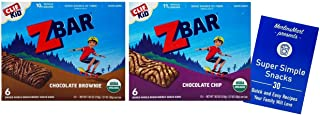 CLIF Kid ZBAR Organic Energy Snack Bar | Granola Bar 2 Flavor Variety (1) each: Chocolate Brownie, Chocolate Chip (7.62 Ounces) Plus Recipe Booklet Bundle