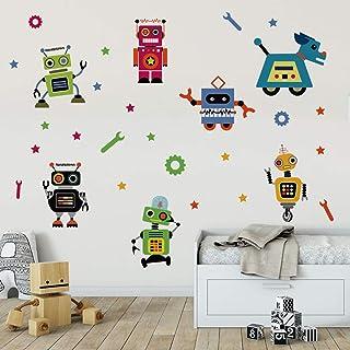 Runtoo Pegatinas de Pared Robot Stickers Adhesivos Vinilo Aula Decorativas Salon Habitacion Bebe Dormitorio