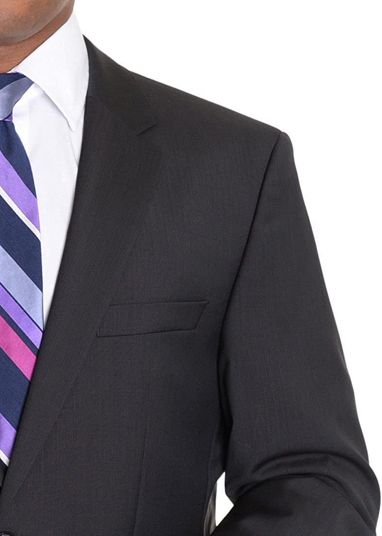 Hugo Boss TheGrand/Central 38R 48 Semi Solid Dark Brown Mini Striped Wool Suit
