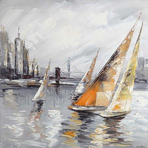 ETA-BL Quadro Barca Voilier, Dimensione 100/100cm, Quadro Quadrato, Pittura ad Olio su Tela di Cotone Montato su Telaio in Legno. Nessun Lavoro di Stampa. Quadro di Artista Firmato.
