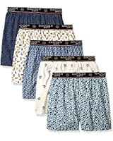 Badger Smith Men's 5 - Pack Cotton Print Multicolor Boxer Shorts XXL Multi