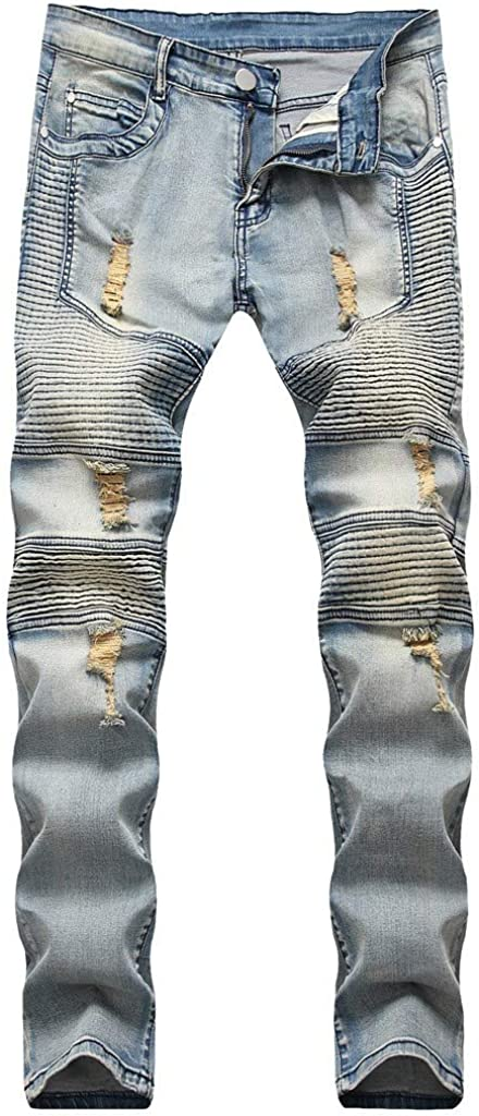 AKIMPE Men's Ripped Casual Slim Distressed Destroyed Straight Fit Pencil Jeans Plus Size Blue