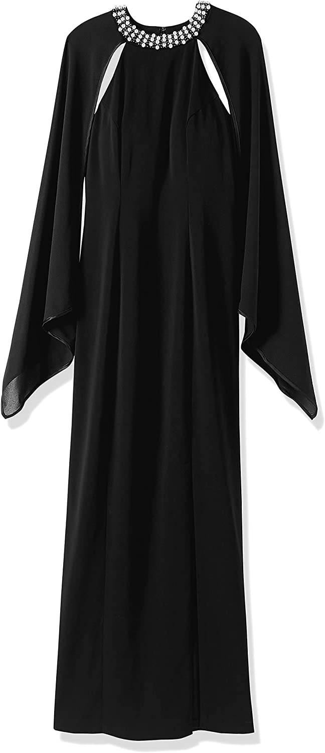 Social Graces Women's Beaded Pearl Neck Slit Skirt Maxi Dress Evening Gown with Cape