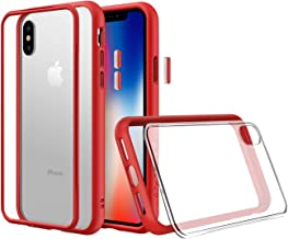 RhinoShield Modular Case for iPhone X [Mod NX] | Customizable Shock Absorbent Heavy Duty Protective Cover - Compatible w/Wireless Charging & Lenses - Shockproof Red Bumper w/Clear Back