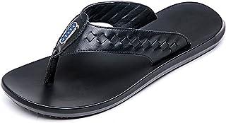 Z.L.FFLZ Men Sandals Men's Thong Flip Flops Beach Slippers Genuine Leather Non-slip Soft Flat Sandals sandals guess (Color...