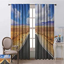 youpinnong United States, Curtains Light Blocking, Highway in California Steppe and Clouds Asphalt Road Horizon Hills Journey, Curtains for Kitchen, W96 x L108 Inch, Multicolor