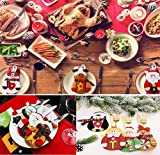 Gohist 8 Stücke Weihnachten Besteckhalter Küchenbesteck Weihnachtsmann Besteckbeutel Taschen Messer Gabeltasche,8 Verschiedene geformt Weihnachten tischdeko Besteck Party Dekoration - 6