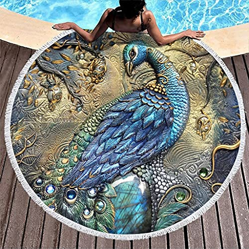 Ktewqmp Toalla de playa redonda de pavo real, grande, toalla de playa, para hombre, fiesta, color blanco, 150 cm