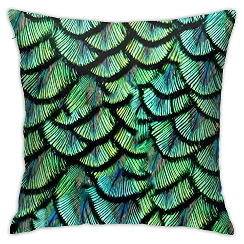 Funda de cojín cuadrada con diseño de plumas de pavo real para el hogar, sofá, dormitorio, sala de estar, jardín al aire libre, coche, 45 x 45 cm