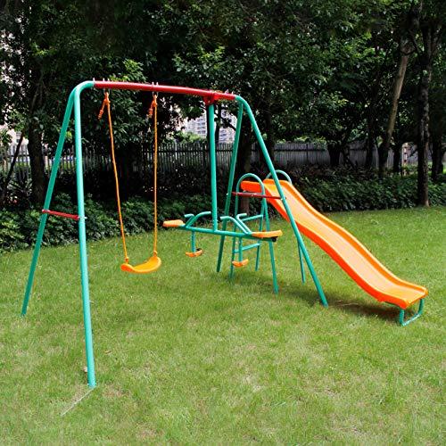 Yorbay Schaukel Kinderschaukel Gartenschaukel belastbar bis 135Kg, mehr Kinder gleichzeitig Spielen Mehrweg (Brettschaukel mit Tellerwippe mit Rutsche)