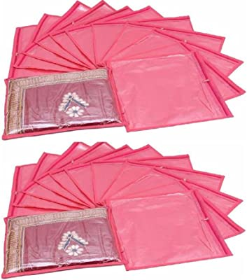 Fashion Bizz Non Woven Regular Pink Saree Cover Set of 24 Pcs Combo/Wardrob Organiser/