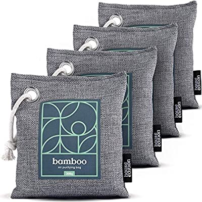 Bamboo Charcoal Air Purifying Bag 4-Pack – Naturally Freshen Air with Powerful Activated Charcoal Bags Odor Absorber – Kid and Pet-Friendly Air Fresheners for Home or Car by House Edition, 4x200g from