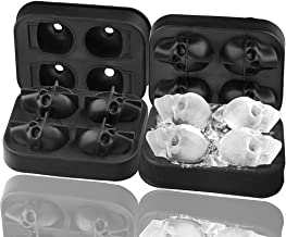 Skull Ice Mold Silicone 2 Pack 3D Skull Ice Cube Mold, Onidoor Creative Candy Sugar Chocolate Mold Maker, Bar Whisky Cocktails Ice Make for Parties, Black & eBook by STSSLTD