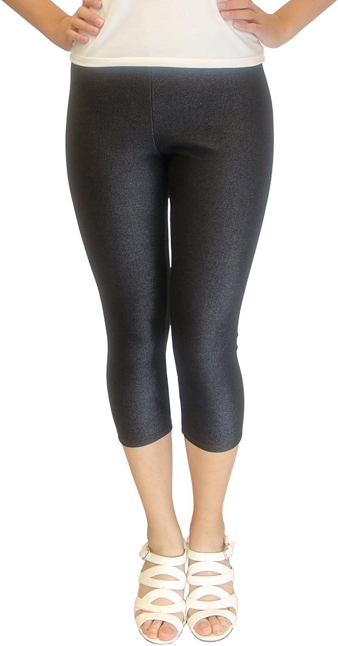 Vivian's Fashions Capri Leggings - Knit Denim (Junior and Junior Plus Sizes)