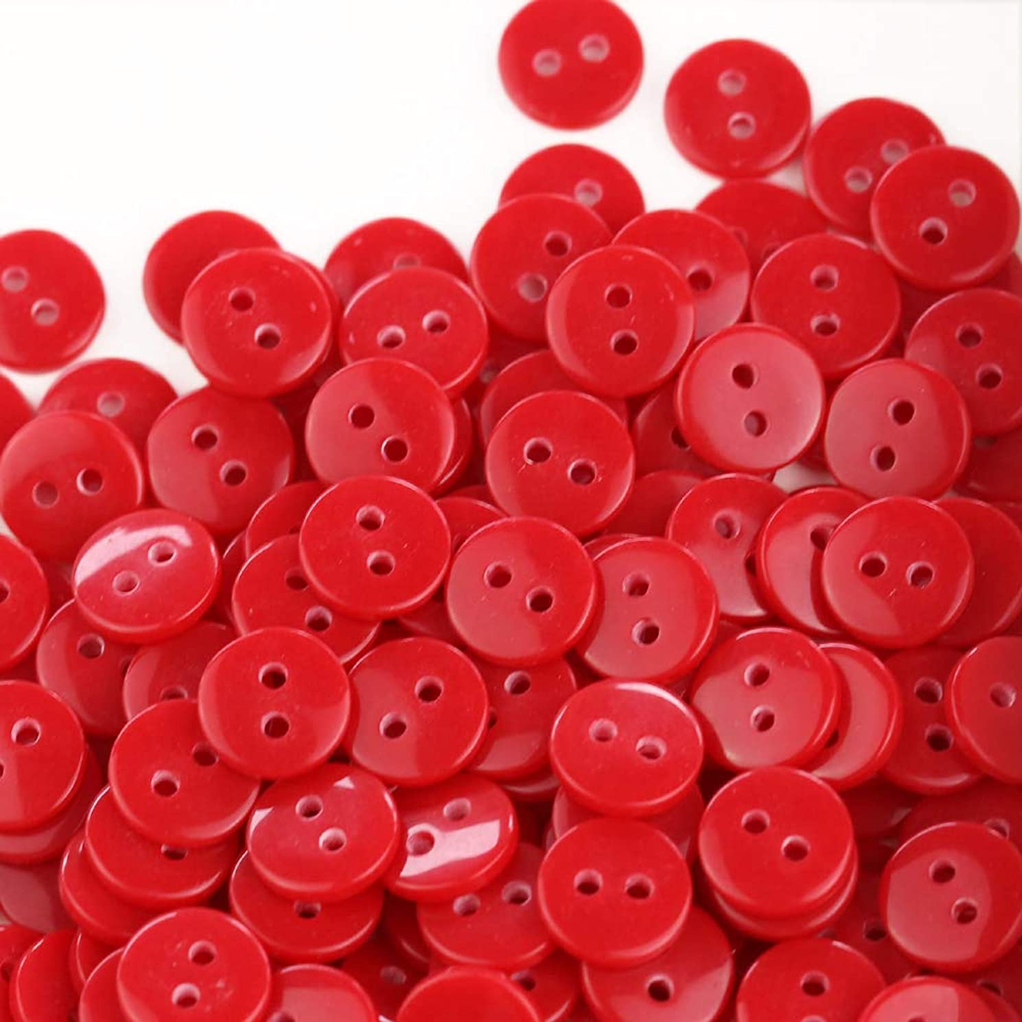 GANSSIA 11/32'' (9mm) Tiny size Sewing Flatback Resin Buttons Color Red Pack of 500 Pcs