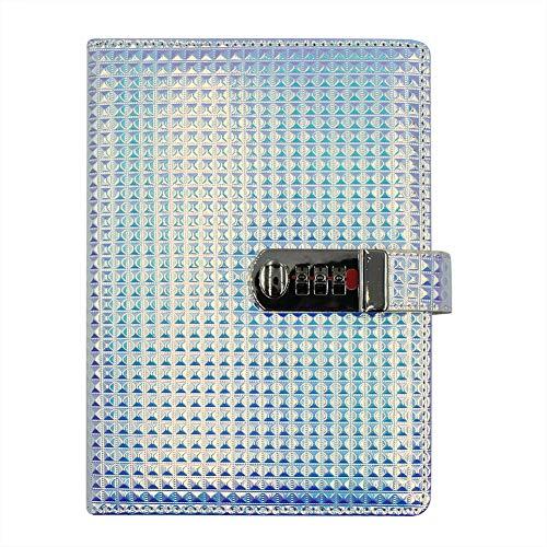 Cuaderno con contraseña de diamante holográfica A5 con cerradura de combinación, diario de viaje de poliuretano, planificador de escritura, 80 hojas/160 páginas, color morado