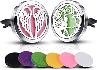 INFUSEU 2 Pack Car Diffuser Vent Clip Air Freshener Essential Oils Fragrance Infuser Aromatherapy Cute Angel Wings Design + 12PCS Refill Pads