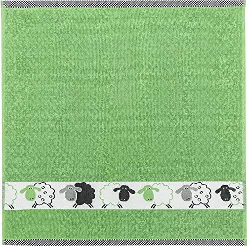 """Kracht Frottier- Geschirrtuch """"Schäfchen"""" grün, Größe 50 x 50 cm Frottier"""