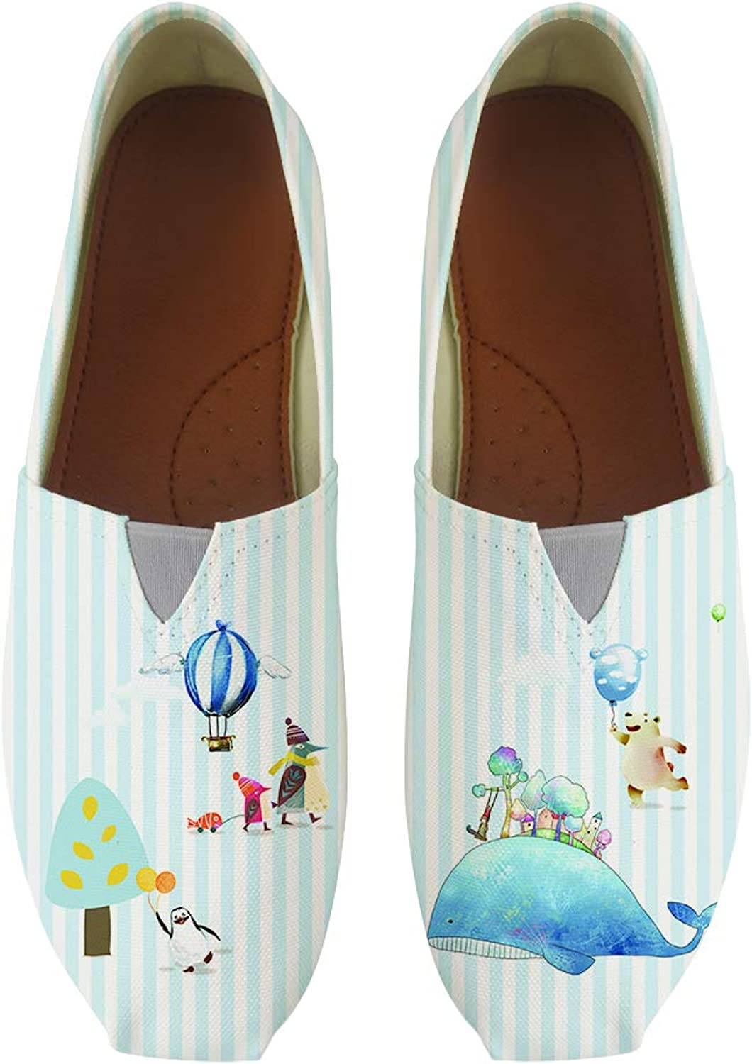 Owaheson Classic Canvas Slip-On Lightweight Driving shoes Soft Penny Loafers Men Women Happy Polar Bear Whale Vacation Penguin Mum and Baby