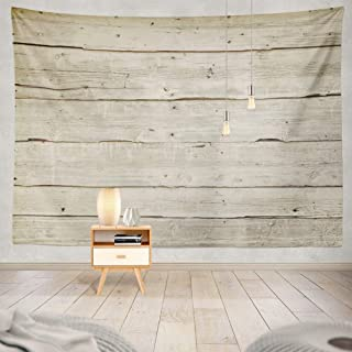 threetothree 60X80 Inches Tapestry Wall Hanging Interior Decorative Natural Wood Board Wall Panel Horizontal Shabby Wooden...