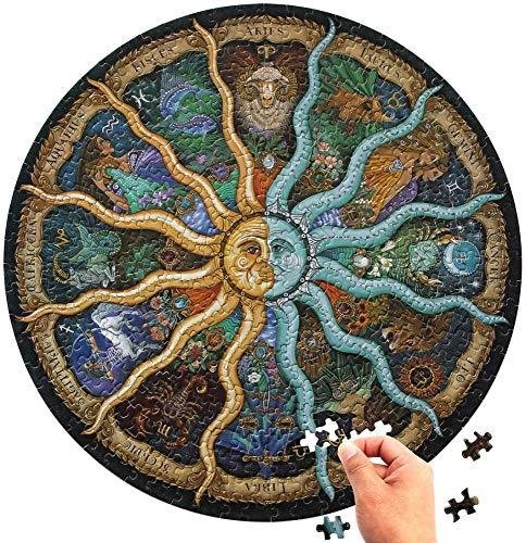 Rompecabezas Redondo De 1000 Piezas para Adultos: Rompecabezas del Horóscopo del Zodiaco: Rompecabezas Circulares De La Constelación De Bricolaje Cool and Challenge