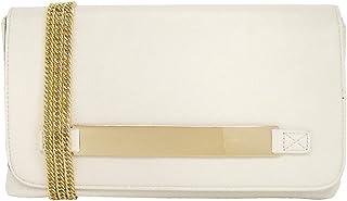 JNB Women's Slip-through Metallic Handle Clutch Ivory