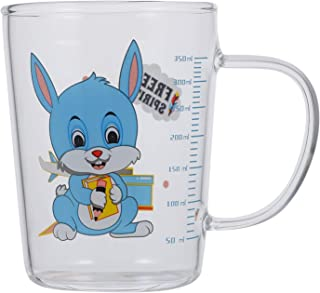 TOYANDONA Glass Tumblers With Handle Rabbit Pattern Measuring Cup Toddler Trainer Cup Food Grade Silicone Baby Water Bottl...