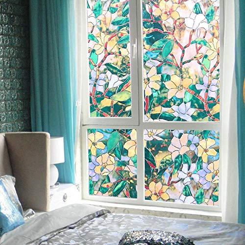 KUNHAN Raamsticker Raampapier camellia glas pasta peeling sticker toilet ondoorzichtig badkamer cellofaan schaduw venster film venster film lengte 100cm