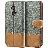 BEZ Handyhülle für Huawei Mate 20 Lite Hülle, Tasche Kompatibel für Huawei Mate 20 Lite, Handytasche Schutzhülle [Stoff & PU Leder] mit Kreditkartenhalter, Grau
