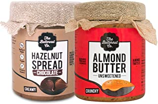 The Butternut Co. Almond Butter Unsweetened Crunchy & Chocolate Hazelnut Spread Creamy, 200 gm Each - Pack of 2 (No Added ...