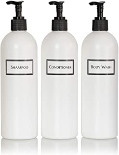 Artanis Home Silkscreened Empty Shower Bottle Set for Shampoo, Conditioner, and Body Wash, Cosmo/Bullet 16 oz 3-Pack, Whit...