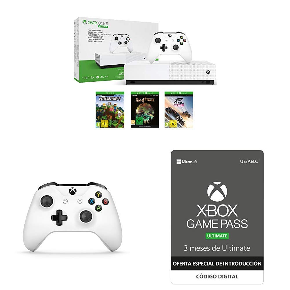 Xbox One S All Digital + Xbox Wireless Controller, Blanco + Oferta: Xbox Game Pass Ultimate - 3 Meses: Amazon.es: Videojuegos
