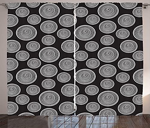 ABAKUHAUS Cortina abstracta rústica entrelazada con espirales para salón, banda universal con trabillas y ganchos, 280 x 245 cm, color gris y blanco