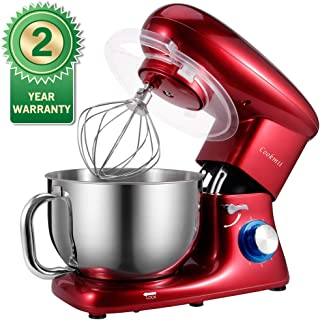 Stand Mixer, Cookmii 660W Food Mixer with 5.5-Qt Stainless Steel Bowl, Tilt-head Electric Dough Mixer with Dough Hook, Beater, Whisk(Red)