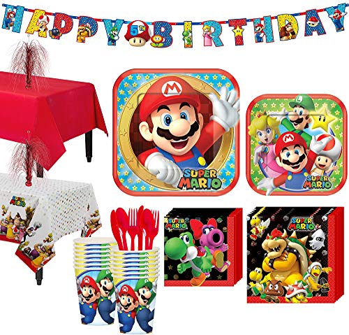 Party City Super Mario Tableware Party Kit and Supplies for 16 Guests, with Table Covers, Table Decorating Kit, Banner