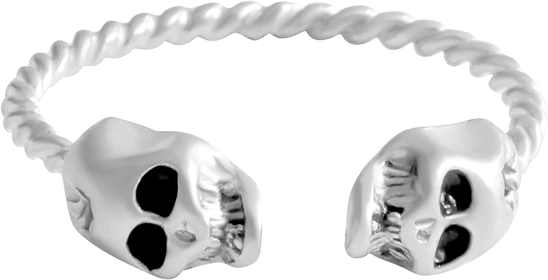 ONDAISY Hippie Bohemian Matt Skull Skeleton Wrap Around Adjustable Expendable Stretch Stack Band Ring